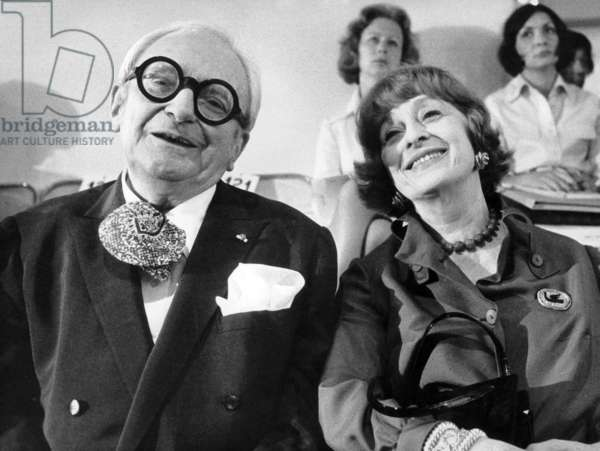 Juliette and Marcel Achard Durinbg The Presentation of New Autumn-Winter Fashion Collection By Pierre Cardin July 24, 1973 (b/w photo)
