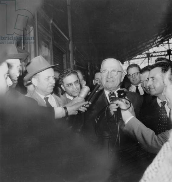 Former American President Harry Truman in Paris on May 16, 1956 (b/w photo)
