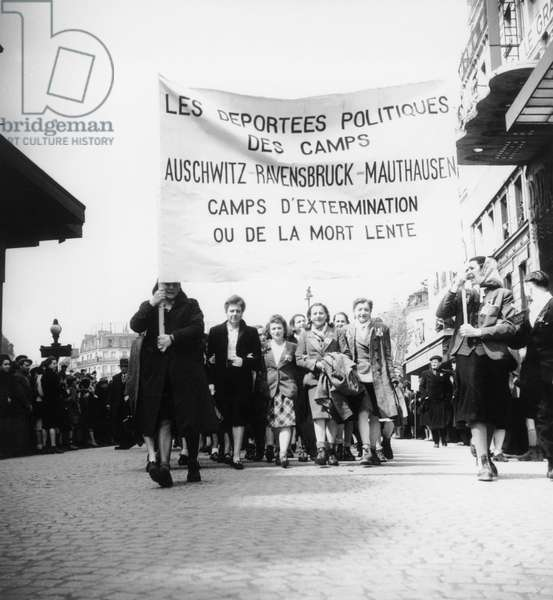 Demonstration in Paris on May 1St, 1945 For Women Interned in Auschwitz, Ravensbruck, Mauthausen Concentration Camps (b/w photo)