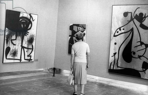 Retrospective of Joan Miro's (1893-1983) work for his 85th birthday in Palma de Mallorca, September 11, 1978 (photography)