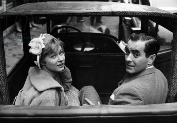 Danick Patisson and Tyrone Power in A 1922 Cab in Montmartre, Paris, during The Set of The Film The Sun Also Rises, March 24, 1957 (b/w photo)
