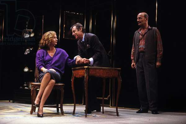 "Francois Perier, Caroline Cellier and Bernard Haller in Play ""L'Age De Monsieur Est Avance"" in Paris, 1985 (photo)"