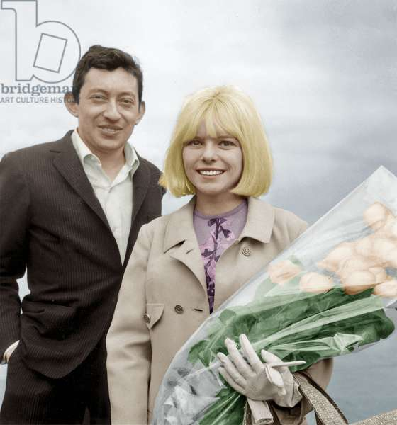 French Singers Serge Gainsbourg and France Gall on March 21, 1965 (photo)