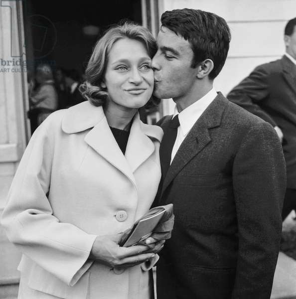 Wedding of French actor Gerard Blain with his3rd wife Monique Sobieski in Auvers-Sur-Oise, France, September 22, 1960 (b/w photo)