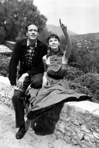 Leslie Caron and Mel Ferrer Visiting Saint Paul De Vence during Cannes Film Festival April 21, 1953 (b/w photo)