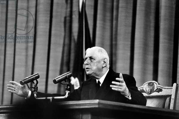 French President Charles De Gaulle during A Press Conference For Free Canada Speech in Montreal at City Hall Novembre 1967 (b/w photo)