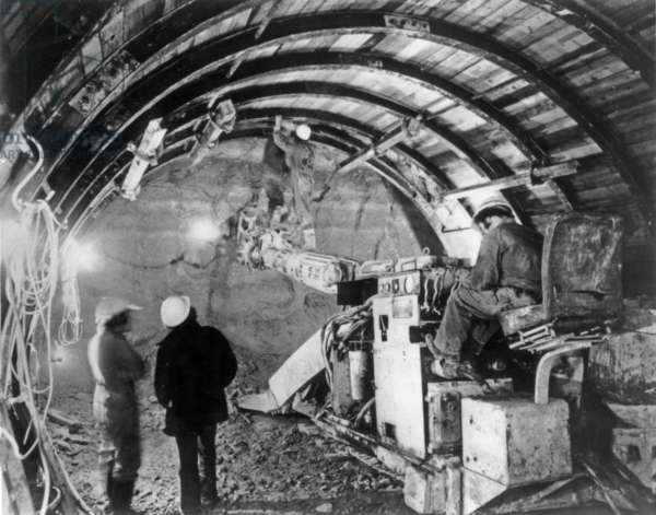 Building of Channel Tunnel, May 8, 1974 (Canceled) (b/w photo)