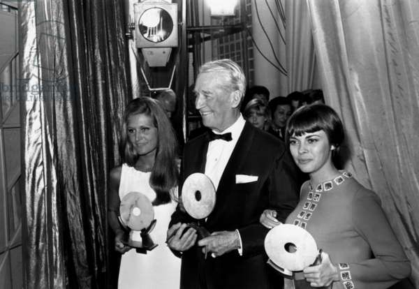 Dalida, Maurice Chevalier and Mireille Mathieu With Their Trophees in Cannes Ofr The Midem January 21, 1969 (b/w photo)