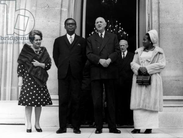 General Joseph Desire Mobtu, President of Congo Kinshasa and French President Charles De Gaulle With Their Wifes and Maurice Couve De Murville, First Minister (In The Back) at The Elysee Palace (Paris) on March 27, 1969 (b/w photo)