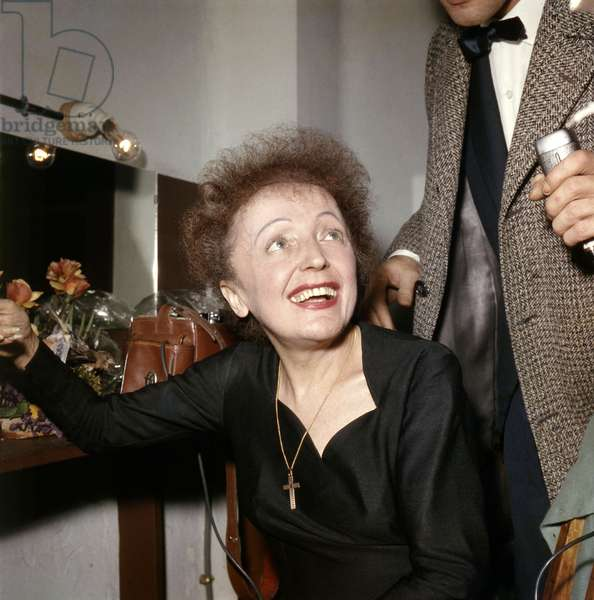 French Singer Edith Piaf (1915-1963) in her Dressing Room After A Show in 1960 (photo)
