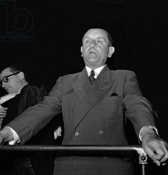 Trial of Otto Abetz (German ambassador in Paris during ww2), Paris, July 18, 1949 : Dietrich von Choltitz (b/w photo)