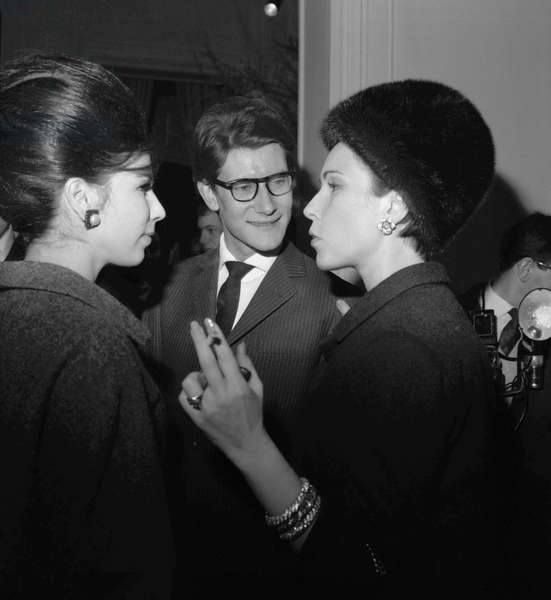Victoire, Yves Saint-Laurent and Carol Bjorkman, 1963 (b/w photo)