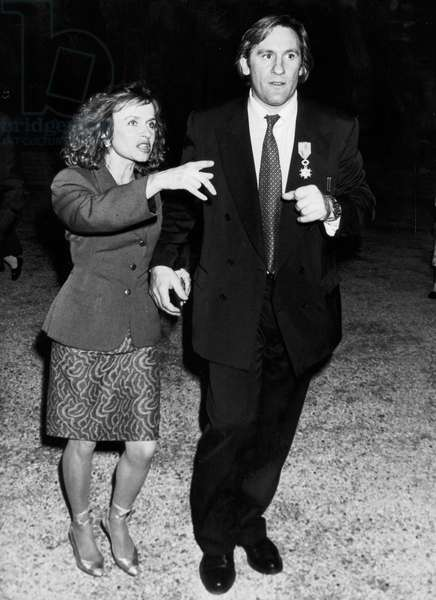 Gerard Depardieu and his Wife Elisabeth After Ceremony of Legion of Honour September 16, 1988 (b/w photo)