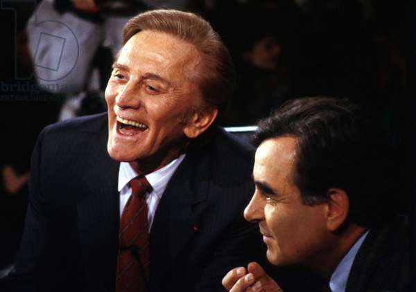Actor Kirk Douglas With Host Bernard Pivot at French TV Programme Apostrophes For Presentation of his Book The Ragman'S Son (1988) (photo)