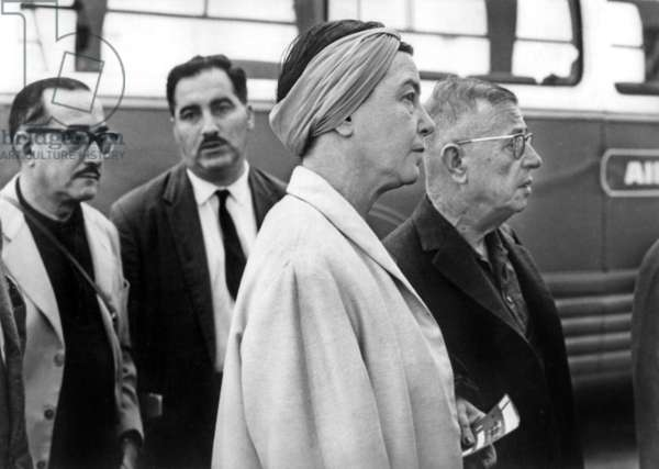 Simone De Beauvoir and Jean-Paul Sartre at Orly Airport To Go in Moscow on July 1St 1965 (b/w photo)