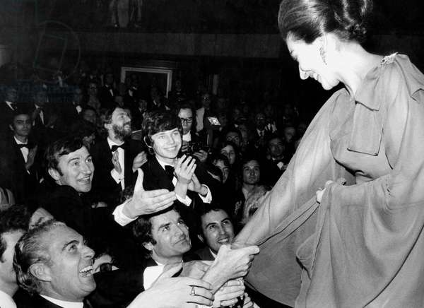 Maria Callas Shaking Hands of Admirers After Concert in Paris December 8, 1973 (b/w photo)