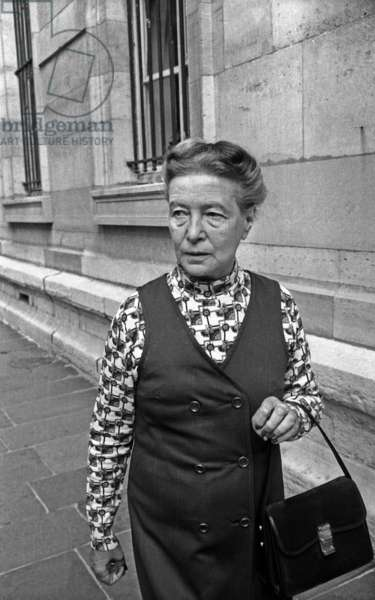 French Writer Simone De Beauvoir Leaving Law Courts Facing Charges(Defamation Against Police) September 24, 1971, Paris (b/w photo)