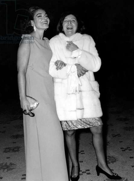 Maria Callas and Marie Bell at Opera April 16, 1968 (b/w photo)