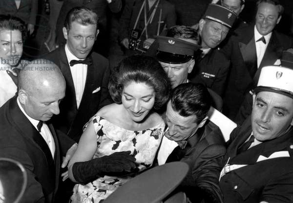 Maria Callas With Fabre Lebret on May 18, 1960 at Cannes Festival (b/w photo)