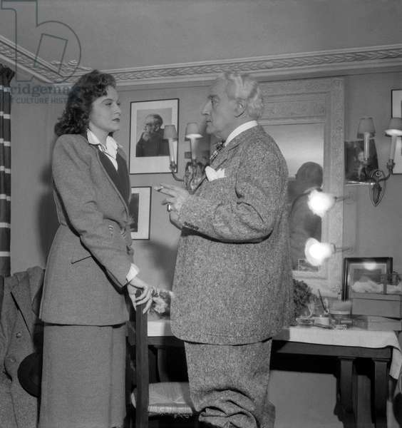 "Premiere of play ""Tu m'as sauve la vie"" at the Theatre des Varietes, Paris, December 15, 1949 : actress Lana Marconi and playwright Sacha Guitry (b/w photo)"