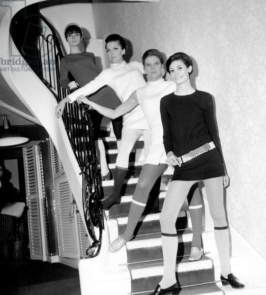 Winter Collection By Louis Feraud Presented July 18, 1966 (b/w photo)