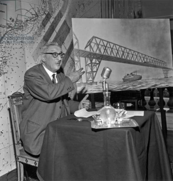 Jules Moch during A Press Conference About Advantages of Tunnel Under Channel, September 19, 1961 (b/w photo)