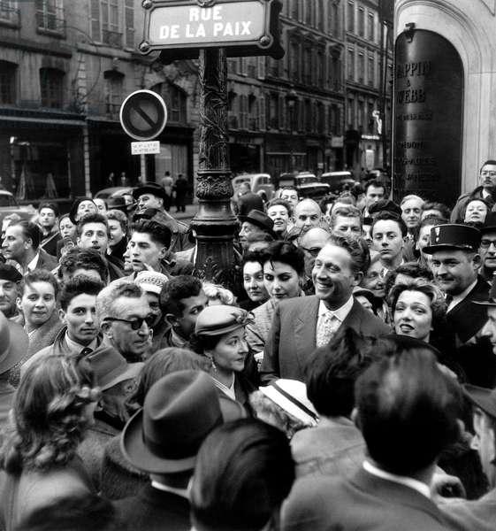 "Charles Trenet in The ""Rue De La Paix"" in Paris May 3, 1964 (b/w photo)"