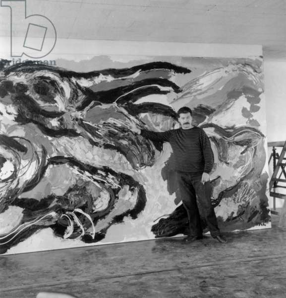 Karel Appel'S Fresco at The Unesco Palace in Paris, September 10, 1958 (b/w photo)
