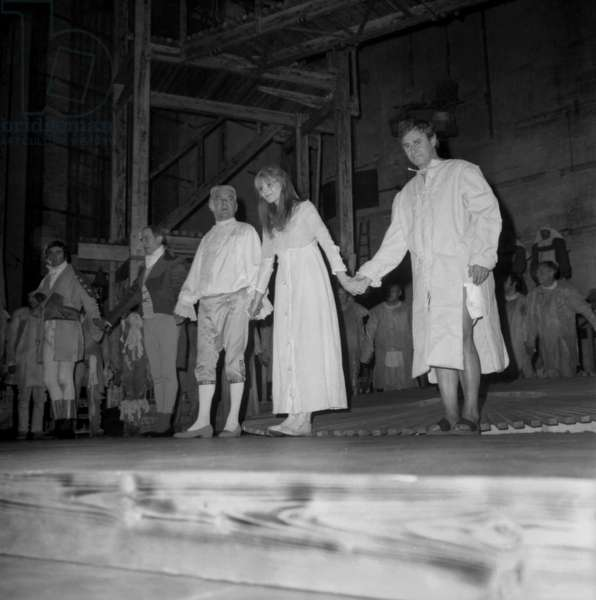 """Jean Servais (Marquis De Sade), Francoise Brion (Charlotte Corday) and Michel Vitold (Marat) during Rehearsal of Play """"Marat Sade"""" in Paris on September 20, 1966 (b/w photo)"""
