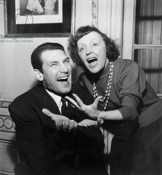 Singers Edith Piaf and Felix Marten February 3, 1958 at The Olympia in Paris (b/w photo)