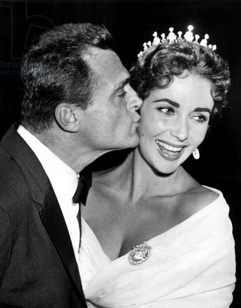Liz Taylor and her 3Rd Husband Mike Todd at Cannes Festival May 4, 1957 (b/w photo)