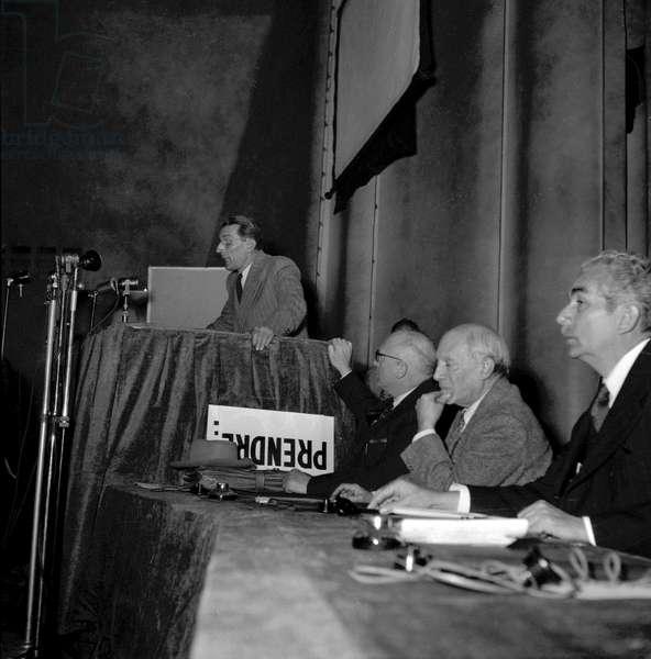 The World Congress of the Peace, Paris, April 20, 1949 : Frederic Juliot Curie, Pietro Nenni, Pablo Picasso, Juan Marinello (b/w photo)