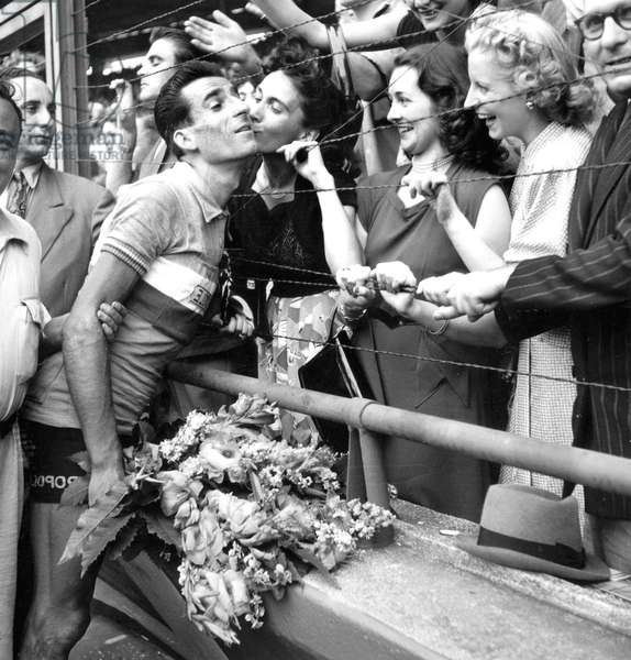 Raphael Geminiani Runner-Up of Tour De France Is Congratulated By his Wife, Paris, July 29, 1951 (b/w photo)