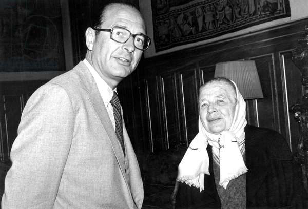 Jacques Chirac and Marguerite Yourcenar January 06, 1981 (b/w photo)