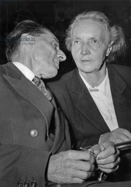 Irene Joliot Curie (French Chimist and Physician) With her Husband The Professor Frederic Joliot, October 1954 in Paris (b/w photo)