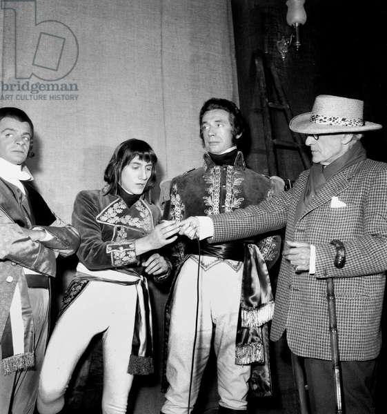 Director Sacha Guitry (R) With Actors Serge Reggiani Daniel Gelin and Yves Montand on Set of Film Napoleon July 1, 1954 (b/w photo)