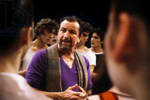 French Choreographer Maurice Bejart With his Dancers during Rehearsal of Ballet Petrushka in Paris January 28, 1983 (photo)