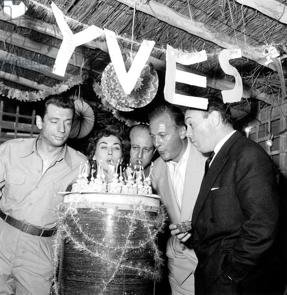 Yves Montand Elisabeth Manet Yves Ciampi Curt Juergens and Jacques Flaud Celebrating Saint Yves Day on Set of Film The Heroes Are Tired May 20, 1955 (b/w photo)