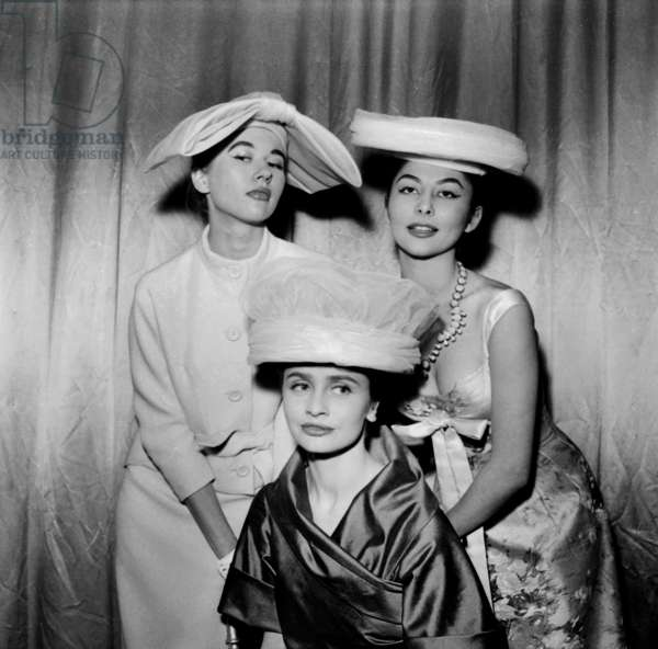 Hats By Pierre Cardin (Inspired By The Roofs of Paris), February 4, 1956 (b/w photo)