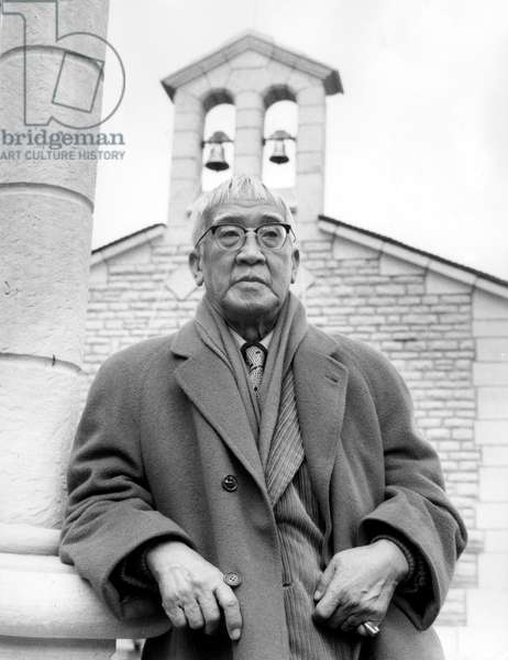 Painter Foujita in Front of The Chapel He Designed October 18, 1966 (b/w photo)