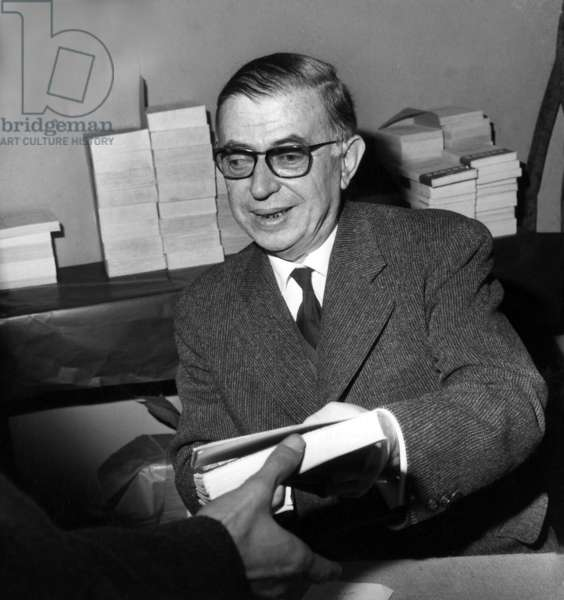 Jean Paul Sartre Signing his Books at The Writers' Fair in Paris February 11, 1961 (b/w photo)