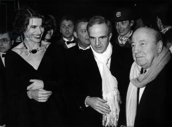 Director Francois Truffaut With his Last Companion Actress Fanny Ardant Arriving With Director Marcel Carne at French Movie Prize Ceremony October 22, 1984 (b/w photo)