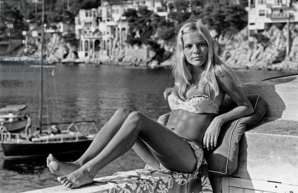 Singer France Gall during Holidays on The Riviera C. 1965-1966 (b/w photo)