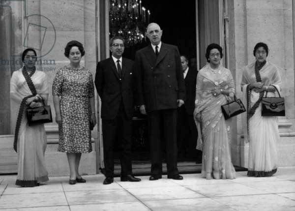 At The Elysee Palace in Paris L-R The Queen Ratna (Queen of Nepal), Yvonnes De Gaulle, Mahendra Bir Bikram Shav Deva (King of Nepal), The French President Charles De Gaulle and the Princess Sarada Et Suriti,May 28, 1964 (b/w photo)