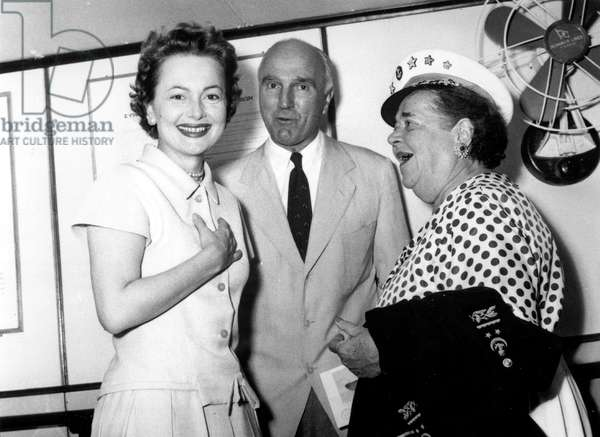 Actress Olivia De Havilland and Elsa Maxwell (Organizer) during Stars Cruise August 30, 1955 (b/w photo)