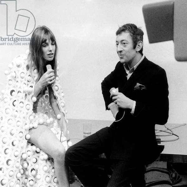 Jane Birkin and Serge Gainsbourg during TV Programme Mid Mad' Mod on February 26, 1969 (b/w photo)
