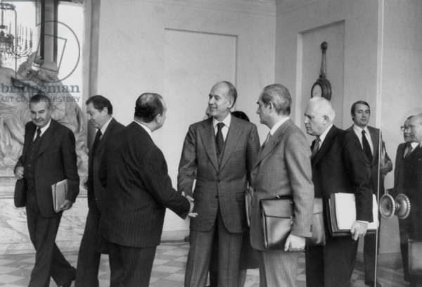 Leaving Council of Ministers at Elysee Palace in Paris on February 7, 1979 : Michel D'Ornano, Raymond Barre, Valery Giscard D'Estaing, Alain Peyreffite, Giraud, Pierre Mehaignerie and Christian Bonnet (b/w photo)