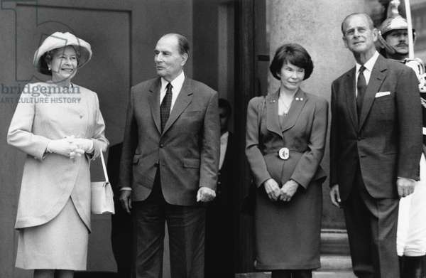 Queen Elizabeth Ii of England, French President Francois Mitterrand and his Wife Danielle, Prince Philip, Duke of Edinburgh at Lunch at The Lysee Palace, Paris, France, June 9, 1992 (b/w photo)