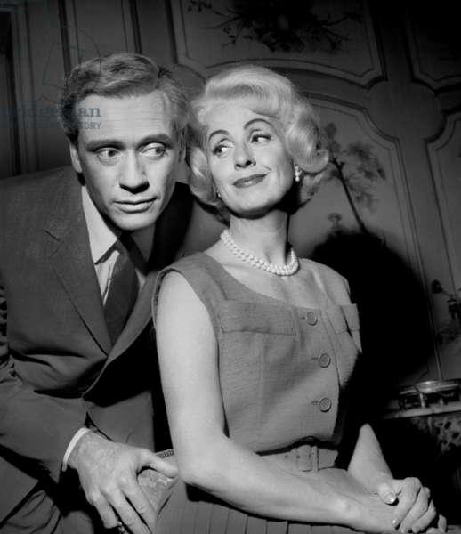 "Mel Ferrer and Danielle Darrieux on Set of Film ""Ladies Man"" July 28, 1960 (b/w photo)"