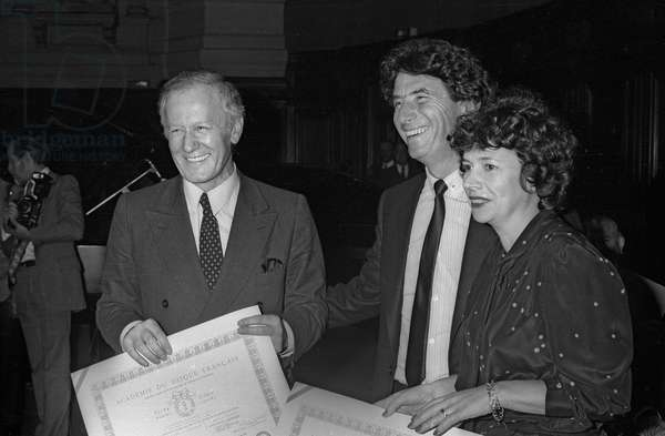 Jacques Chancel, Jack Lang and Michele Cotta at the anniversary of the Disc Academy, Sorbonne, Paris, October 7, 1981 (b/w photo)
